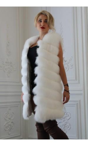 Белый жилет из песца 90 см