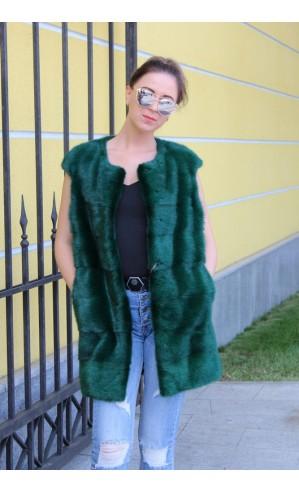 Зеленый жилет из норки