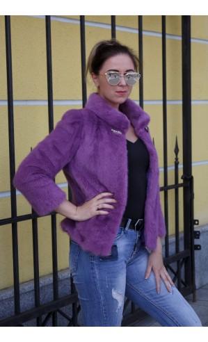 Норковое болеро фиолетовое