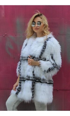 Двух цветное пальто из меха