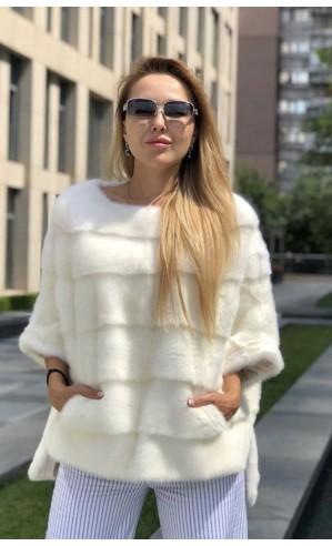 Норковая белая кофта