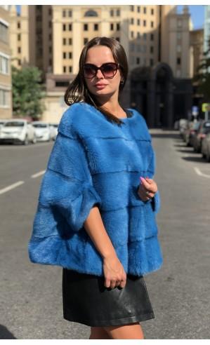 Норковая голубая кофта
