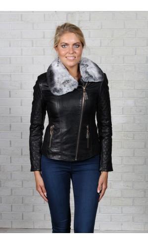 Женская куртка из экокожи и с мехом
