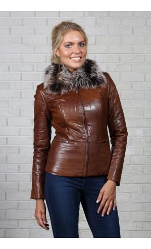 Куртка из экокожи с воротником
