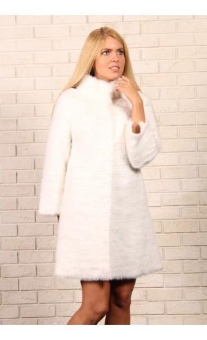 Белое пальто из норки